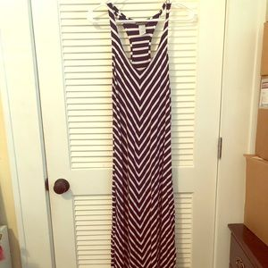 Tommy Bahama black and white striped maxi dress